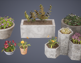 3D asset Flower Set Low Poly Game Ready
