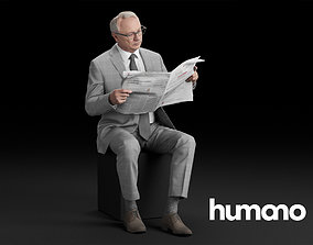 3D model Humano Elegant Man in suit Sitting and reading 2