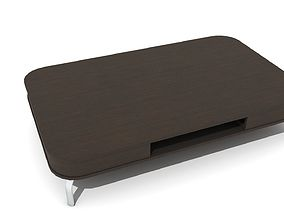 Low Bevelled Wooden Coffee Table with Swivel Drawers 3D