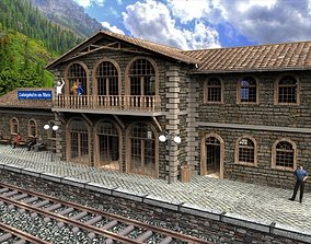exterior residential-building 3D model Railway station