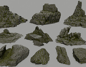 mosy Rock set 3D asset realtime
