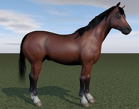 3D rigged Horse rigging