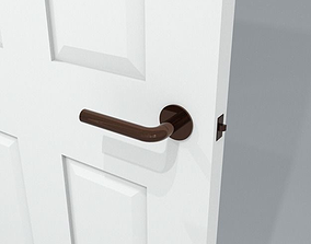3D model simple modern brass lever door handle