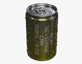 Slim beverage can 150 ml with water drops 3D model