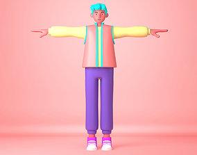 Cartoon Character young man 3D