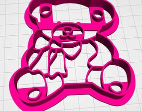 Bear with a bow cookie cutter 3D print model