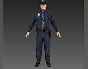 3D asset American Policeman Rigged Character
