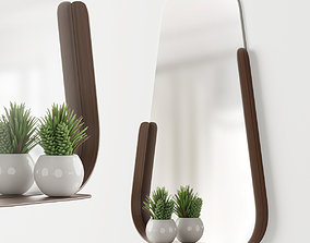 3D Modern mirror with shelf and decor