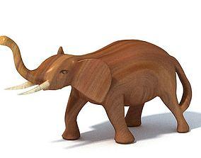 3D model Elephant Wood Sculpture