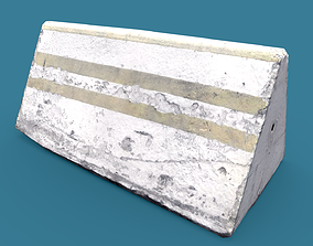 Lowpoly Concrete Barrier Small 3D model