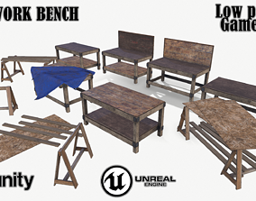 Old work bench 3D asset
