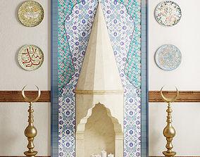 3D Ottoman Fireplace with islamic decor