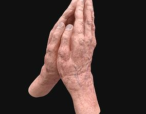 3D model Realistic Rigged old man hand