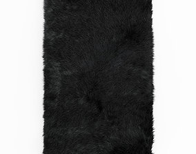 3D Shaggy Sheepskin Black Rug