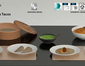 3D model Mexican Tacos and Quesadillas Real maps