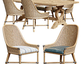 3D model Keeling woven side chair farmington rectangular 2