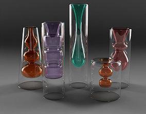 Yves Coloured Glass Vase Set 3D model