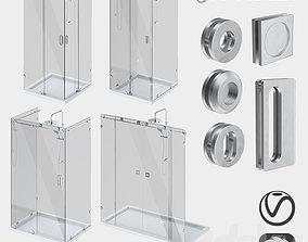 Sliding glass shower cabins designer and handle set 3D