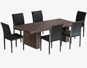 Dinig Table Alexa Rectangular Chair Folio 3D model
