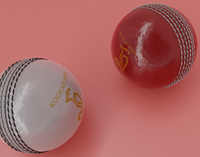 RED AND WHITE KOOKABURRA CRICKET BALL 3D model leatherball