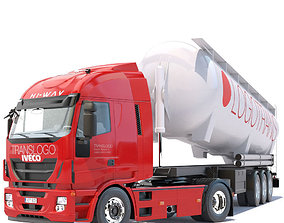 3D model Iveco HiWay with tipping silo