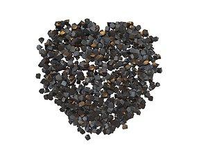 3D asset Voxel Heart Rock Style v1 001