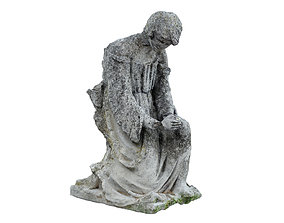 3D asset Destroyed Angel Funeral Sculpture Monument
