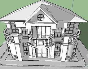 3D asset English House Italian House