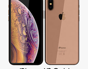 3D model game-ready Apple iPhone XS Gold