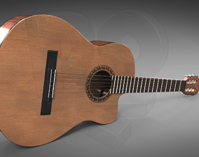 3D Classic guitar with cutaway