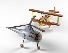 3D Helicopter and Wooden Bi Plane Airplane Toys
