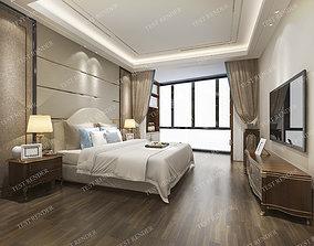 wood luxury modern bedroom suite in hote 3D model