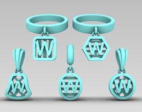 Initial letter charm with 3D printable model 6