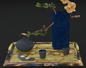 3D model Japanese tea and Ekibana tray