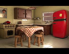 3D asset Cartoon Kitchen Layout