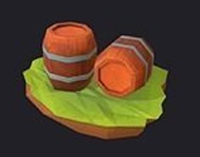Cartoon Low Poly Wooden Barrels Hand Painted 3D model