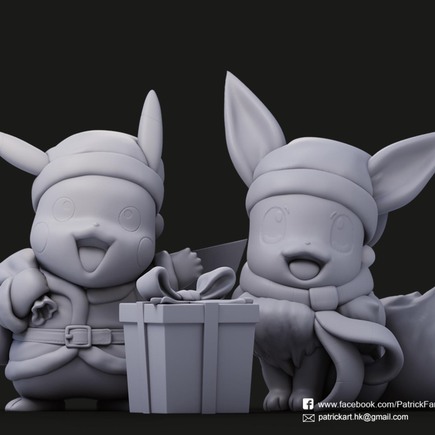 Christmas Pikachu & Eevee (Pokémon)