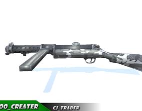 SMG-Machine Gun World War Machine low poly 3d low-poly