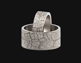 Wedding rings leaf texture 3D print model leaves