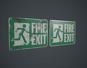 3D asset Plastic Exit Sign PBR Game Ready