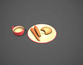 3D model Santa Snack Plate - Red Cup and Cream Plate