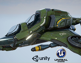 3D asset low-poly Scout Spaceship - game model