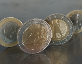 one and two Euro coins 3D asset
