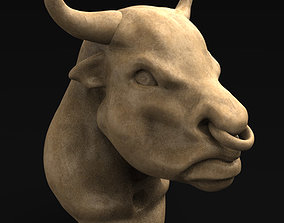 Bull Head 3D Model carved