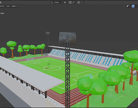 3D model Low-poly Football Stadium Version 1