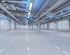 Large Empty Office Interior 3D