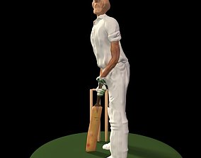 3D Old Cricketer Batting