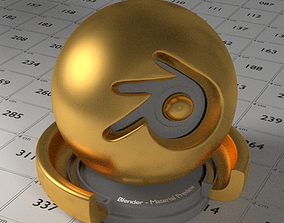 3D model low-poly Gold Shader