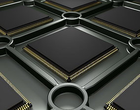3D CPU computer processor or electronic chip on tray