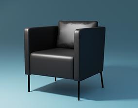3D model EKERO Ikea Black Leather Armchair